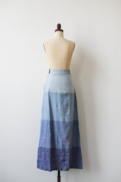 1970s Deadstock Indian Cotton Blue Ombre Maxi Skirt