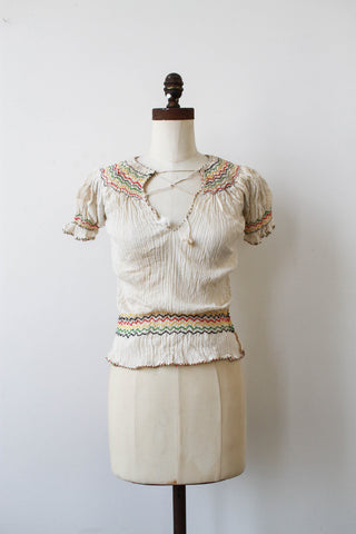 1970s Deadstock Indian Gauzy Cotton Peasant Blouse