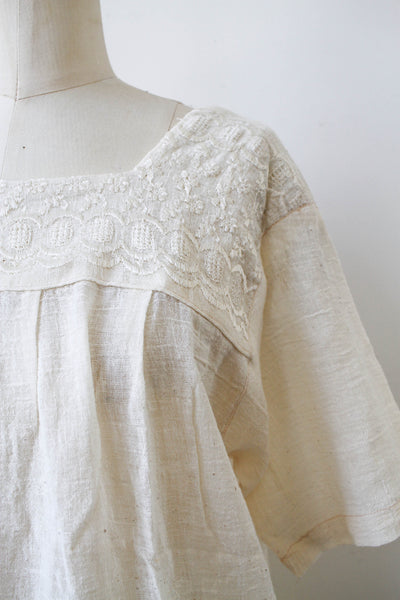 1970s Deadstock Indian Cotton Gauzy Embroidered Tunic Blouse