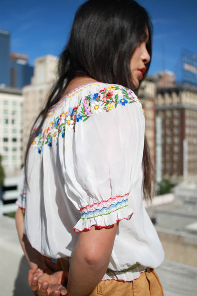 1940s Hungarian Embroidered Rayon Peasant Blouse