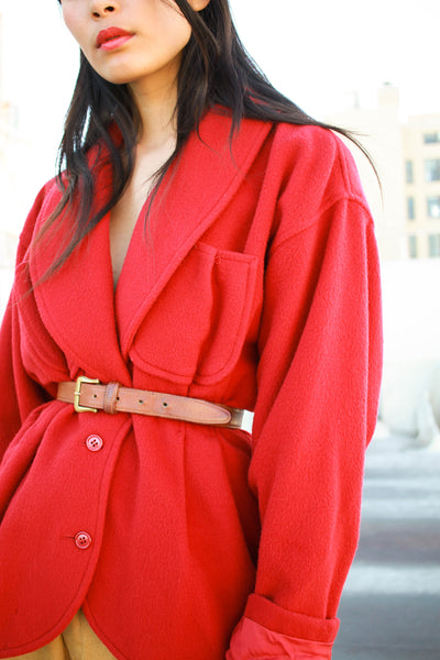 1980s Ungaro Red Wool Oversized Blazer