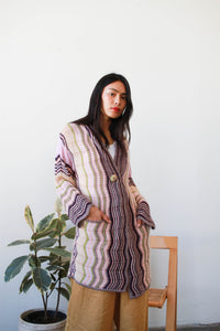 1980s MISSONI Pastel Knit Woven Long Cardigan