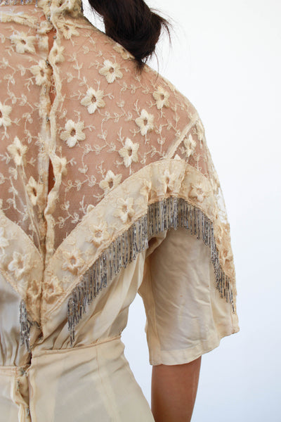 Edwardian Silk Fringe Beaded Lawn Dress