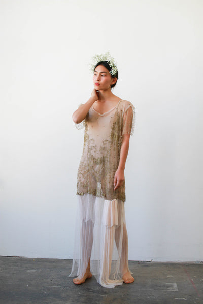 1920s Sheer Layered Net Lace Nude Dress