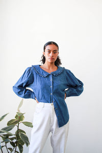1980s Denim Ruffled Button Up Blouse