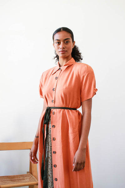 1980s Saks Fifth Ave Melon Silk Button Up Dress