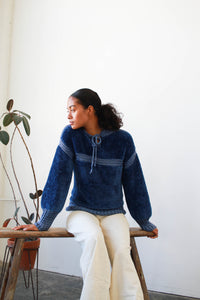 1980s Braided Blue Italian Sweater