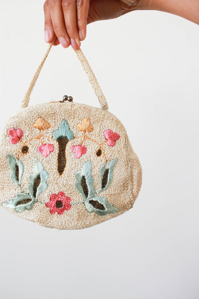1930s Embroidered Clasp Handbag