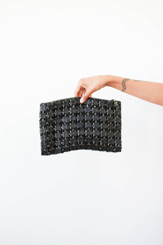 1940s Black Pastiflex Tile Clutch Bag