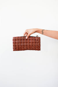 1940s Brown Plastiflex Clutch Bag