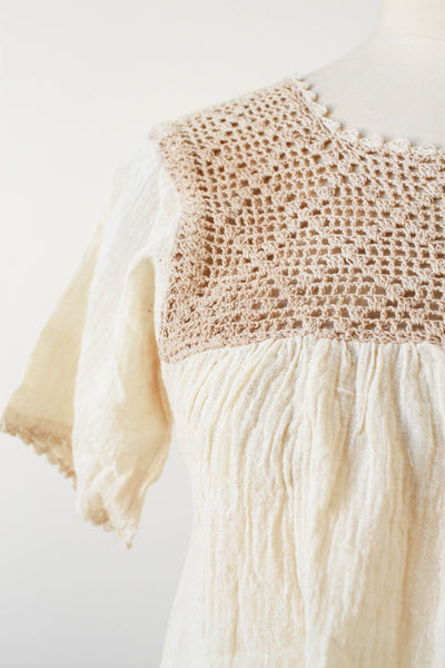 1970s Deadstock Indian Gauzy Cotton Natural Crochet Blouse