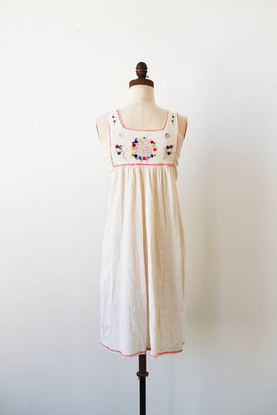 1970s Deadstock Indian Gauzy Embroidered Dress