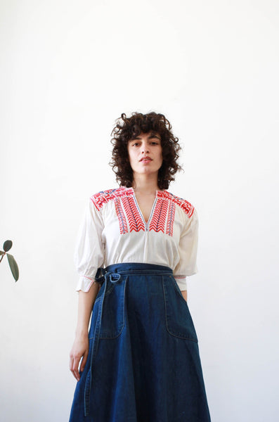 1970s Mexican Huipil Cotton Blouse