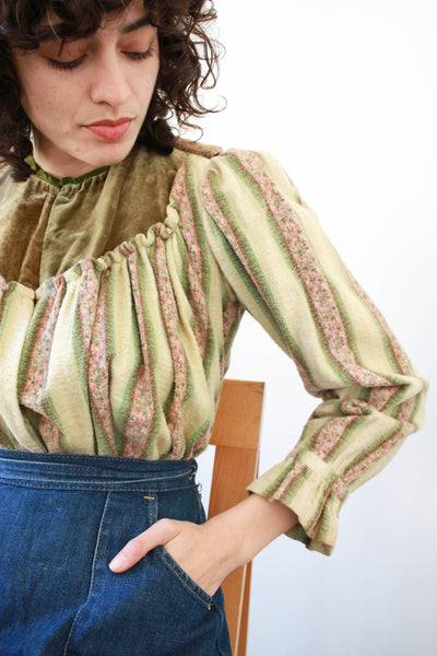 1940s Terry Cloth Striped Blouse