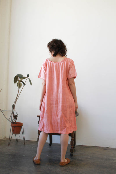 Antique Monogram Hand-Dyed Linen Night Dress