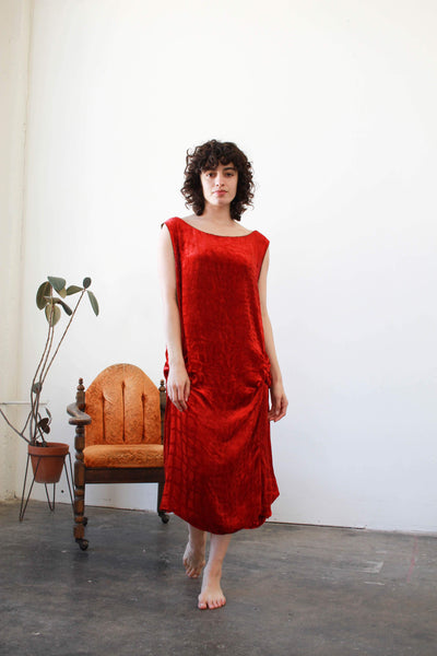 1920s Velvet Crimson Red Damask Dress