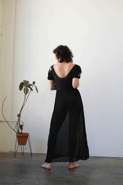 1940s Black Embroidered Sheer Chiffon Dress