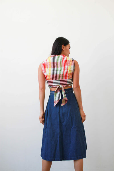 1970s Deadstock Indian Gauzy Plaid Wrap Top