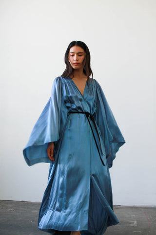 1940s Sapphire Satin Robe Duster