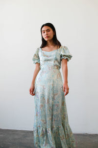 1970s Satin Goddess Print Prairie Maxi Dress