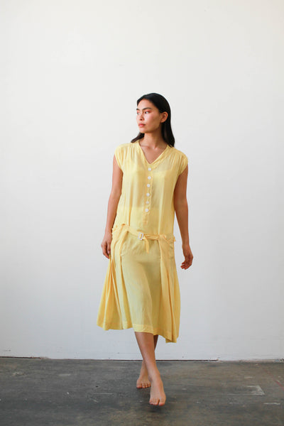 1920s Lemon Silk Drop Waist Belted Dress