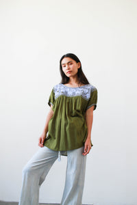 Vintage Mexican Green Embroidered Cotton Tunic Blouse