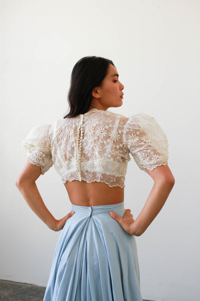 1950s Sheer Embroidered Puff Sleeve Crop Blouse