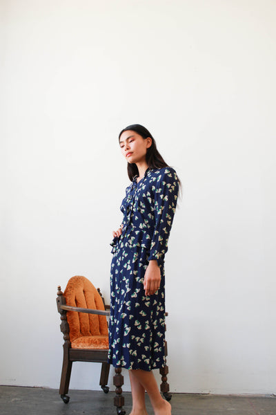 1940s Navy Clover Print Rayon Dress Set