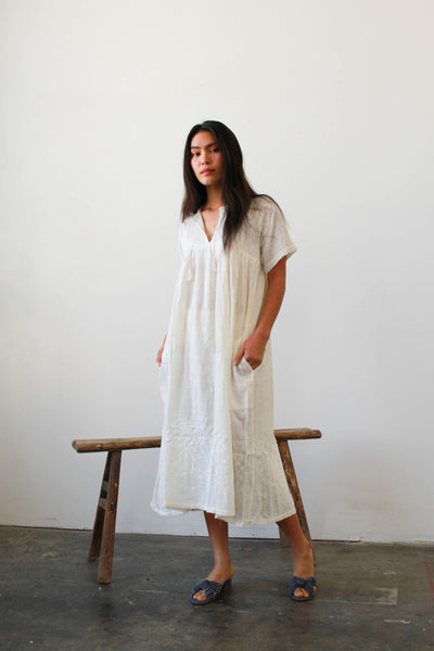 1970s Deadstock Indian Gauzy Cotton Dress