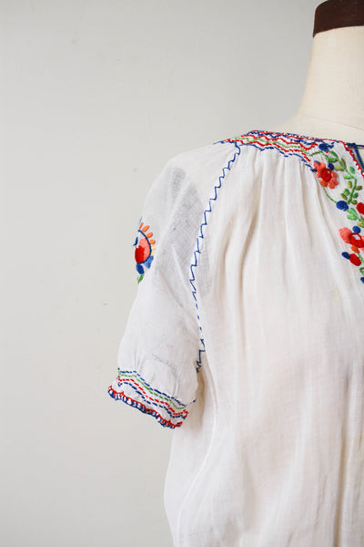1930s Hungarian Embroidered Cotton Blouse