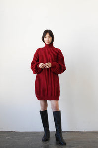 1970s Red Heavy Knit Oversized Sweater Dress