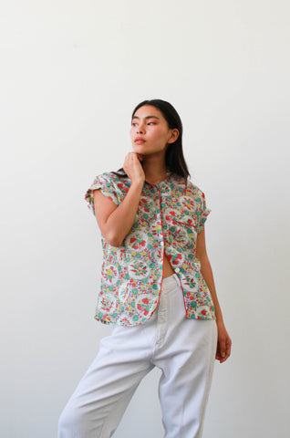 1950s Floral Motif Print Button Up