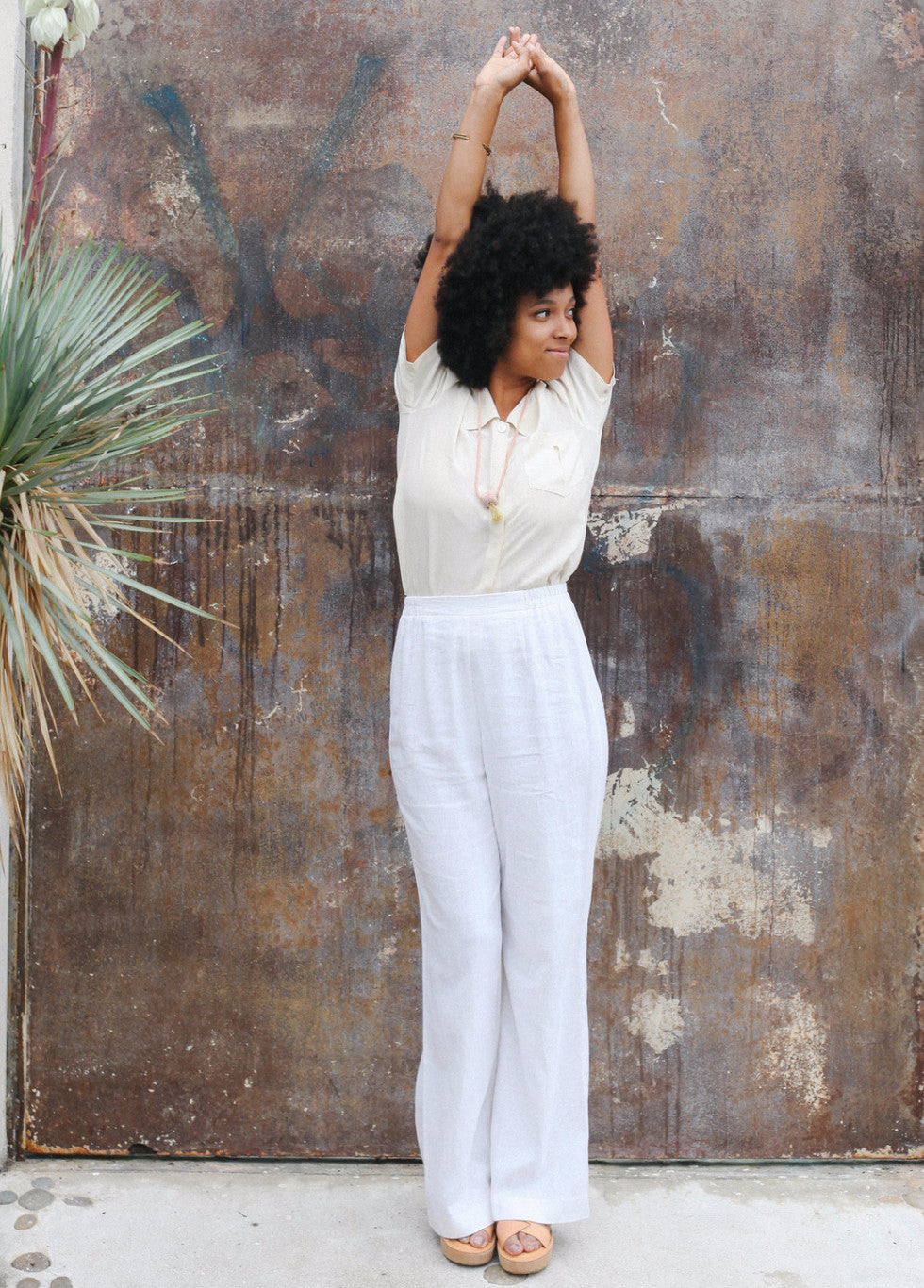 Crisp White Linen Trousers