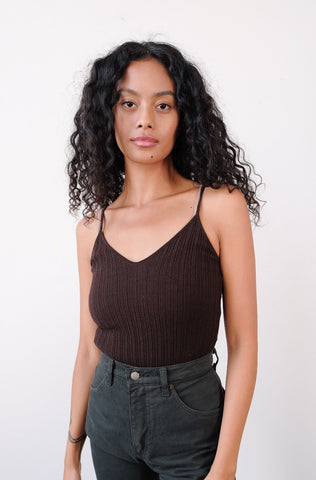 1990s Chocolate Dolce & Gabbana Ribbed Camisole