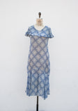 1930s Cerulean Diamond Print Dress