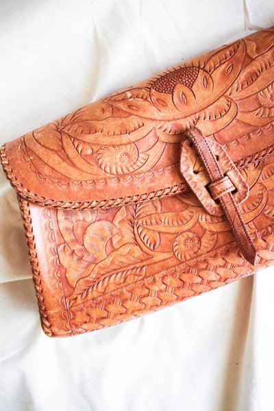 1940s Tooled Leather Clutch Bag