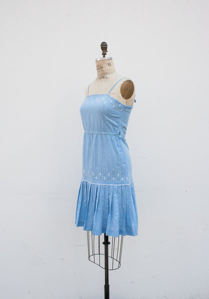 Baby Blue Sweet Embroidered Dress