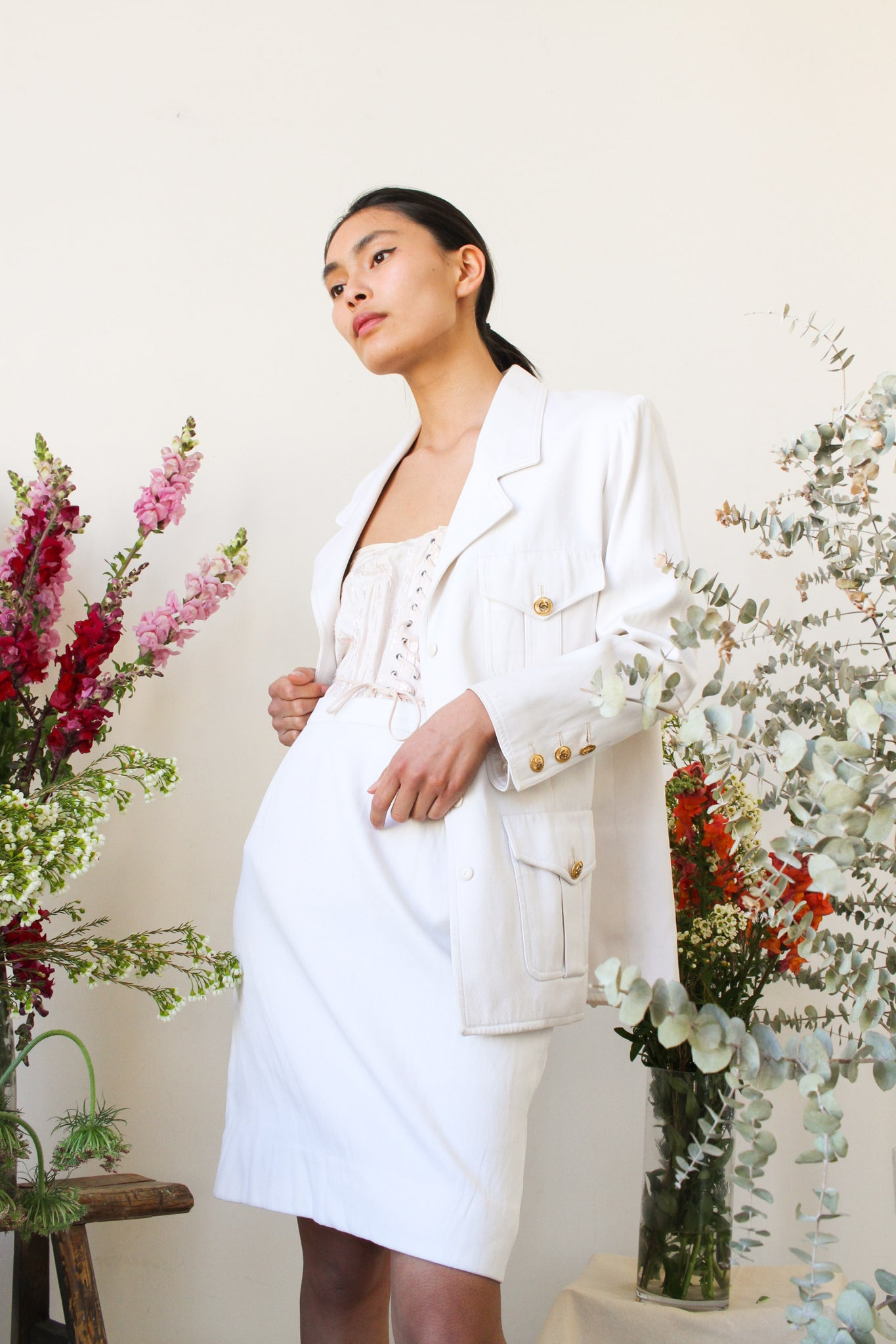 1980s White Chanel Silk Skirt Suit Set