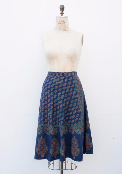 I.Magnin Indian Block Print Wrap Skirt