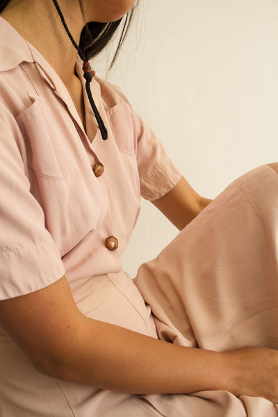1940s Dusty Pink Rayon Day Dress
