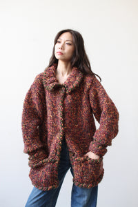 1970s Speckled Chunky Knit Jacket
