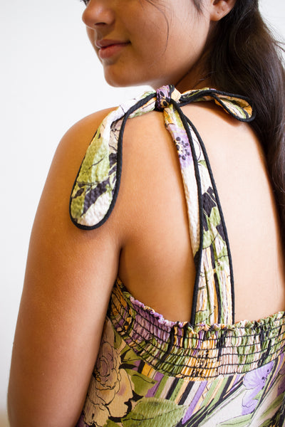 1980s Spring Floral Silk Cami Dress