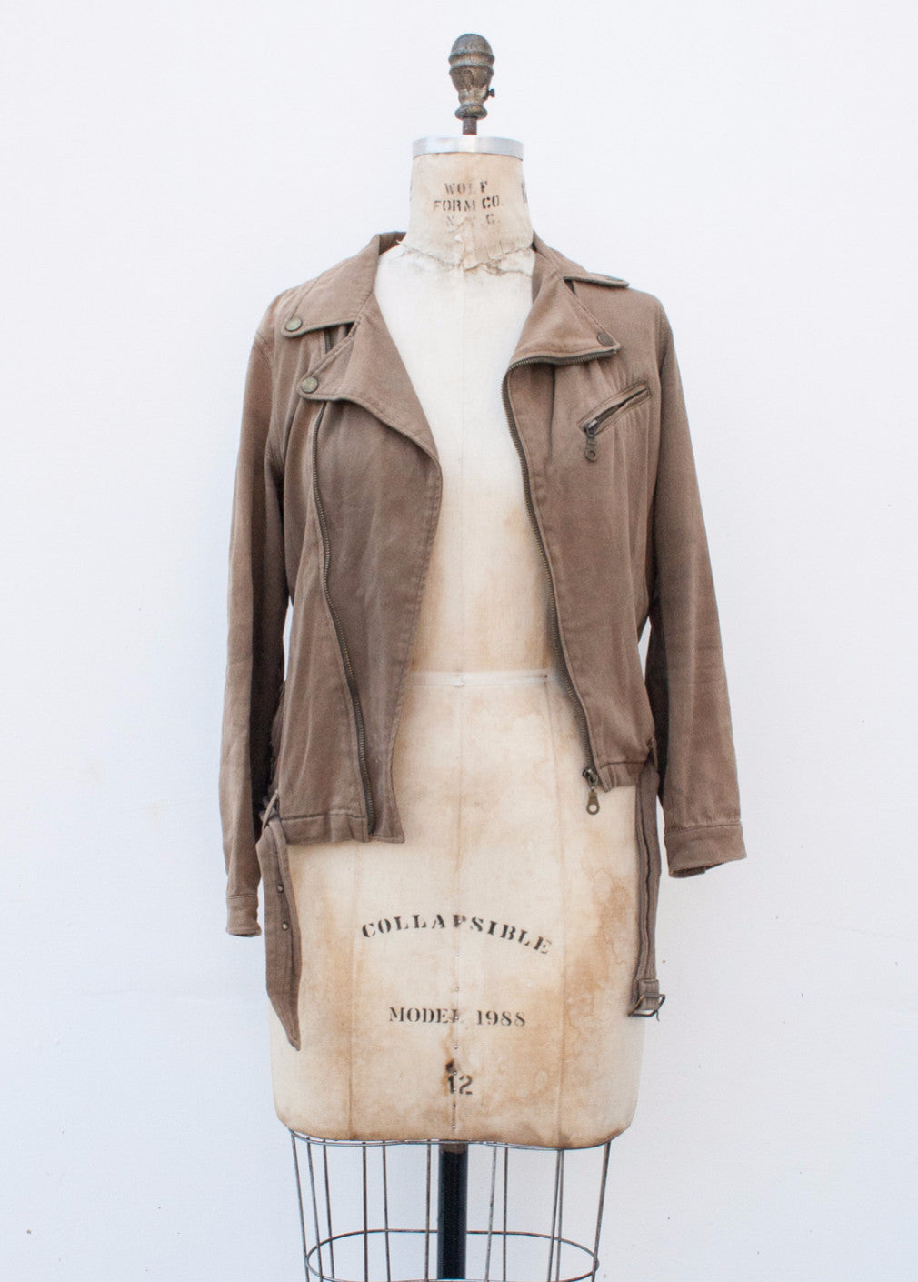 Desert Brown Cotton Moto Jacket