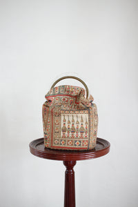 1940s Silk Egyptian Block Print Handbag