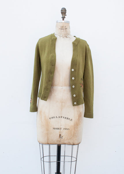 Olive Quail Embroidered Wool Cardigan