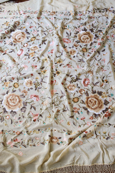 1930s Deadstock Buttercream Silk Canton Embroidered Large Piano Shawl