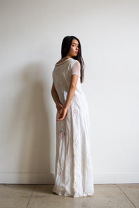 1990s Cotton Doily Embroidered Maxi Dress