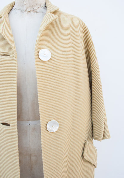 Ribbed Custard Coat