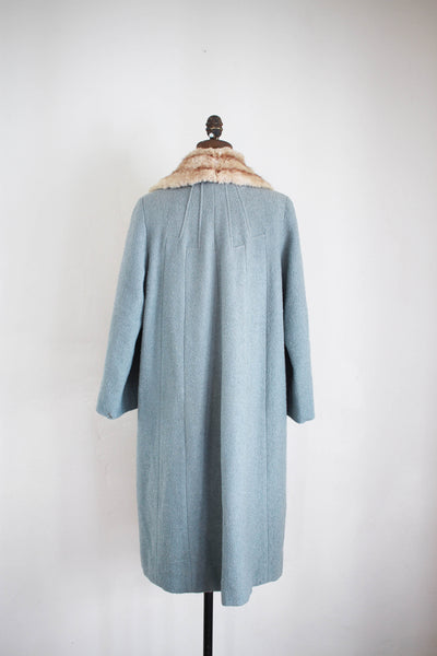 1940s Robin's Blue Wool Fur Collar Coat