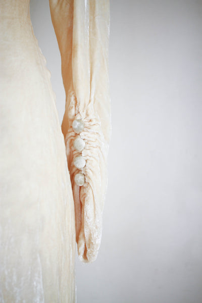 1930s Cream Pan Velvet Wedding Gown